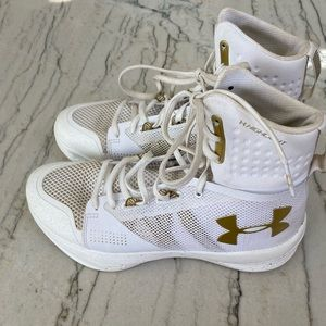 Under Armour White and Gold Volleyball Sneakers